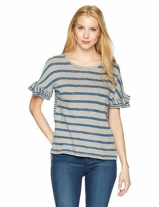 Lucky Brand Women's Mix Stripe Ruffle Tee