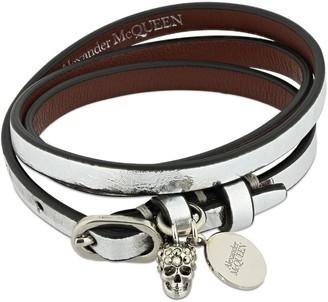Alexander McQueen Multi Wrap Leather Bracelet W/ Skull Pav