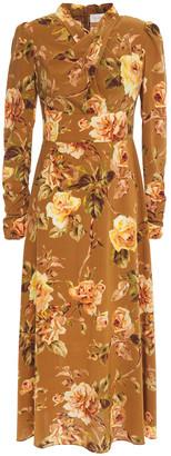 Zimmermann Pleated Floral-print Stretch-silk Midi Dress