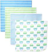 Gerber Baby-Boys Newborn 4 Pack Flannel Blanket-Stripes