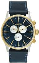 Nixon Sentry Chronograph Watch Goldcoloured/blue Sunray