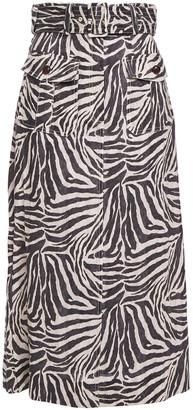Zimmermann Belted Zebra-print Linen Midi Skirt