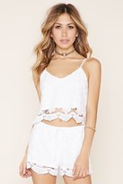 Forever 21 FOREVER 21+ Floral Embroidered Crop Top