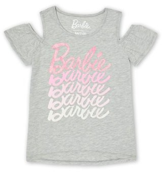 Barbie Girls Logo Cold Shoulder Glitter Graphic T-Shirt, Sizes 4-18 & Plus