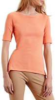Lauren Ralph Lauren Petite Stretch Cotton Boatneck Tee