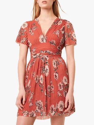 French Connection Tamika Pleated Floral Print Mini Dress, Pumpkin/Multi