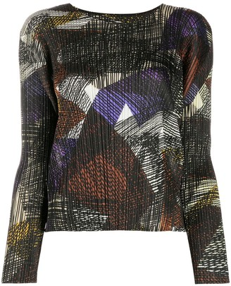 Pleats Please Issey Miyake Abstract-Pattern Long-Sleeve Blouse