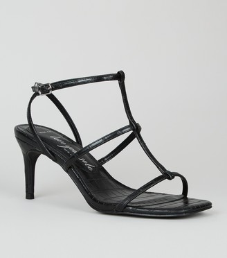 New Look Wide Fit Faux Croc Strappy Stiletto Sandals