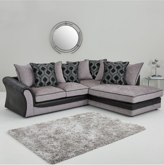 Milan FauxLeather and Fabric Right Hand Corner Chaise Scatter Back Sofa