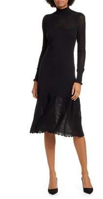 Rebecca Taylor Pointelle Long Sleeve Cotton & Wool Sweater Dress