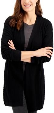 Karen Scott Open-Front Mixed-Stitch Cardigan, Created for Macy's