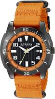 Sperry Men's 10023535 Sharktooth Stainless Steel Watch with Orange Canvas Band