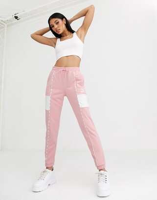Puma Joggers with Piping in Pink