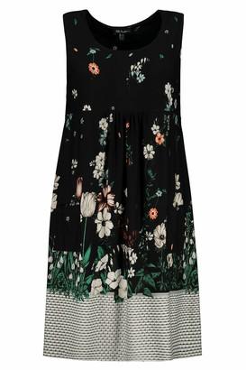 Ulla Popken Women's Plus Size Pretty Print Knit Tank Tunic Dress Black Multi 24/26 747521 10-50+