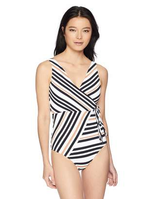 Jets Women's Vista Stripe Wrap One Piece Swimsuit