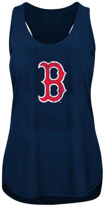 Women's Heathered Navy Boston Red Sox Plus Size Racerback Tank Top