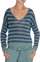 Eleventy Striped V-Neck Linen Sweater