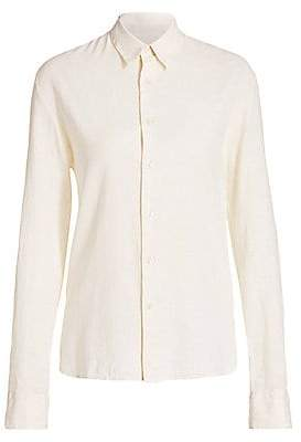 Solid and Striped Women's Cotton & Linen Button-Down Shirt