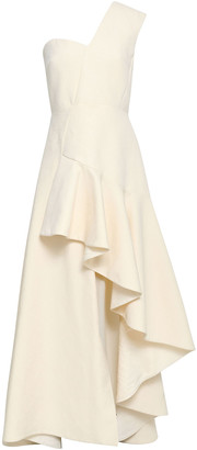 DELPOZO One-shoulder Ruffled Cotton-jacquard Gown