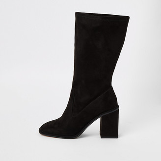 River Island Black suedette calf height heeled boot