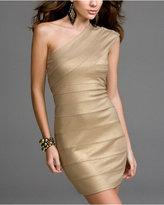 Express Metallic One-Shoulder Banded Dress