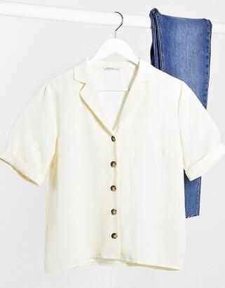 Only button through short sleeve top in cream