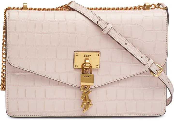 DKNY Elissa Croc-Embossed Shoulder Bag