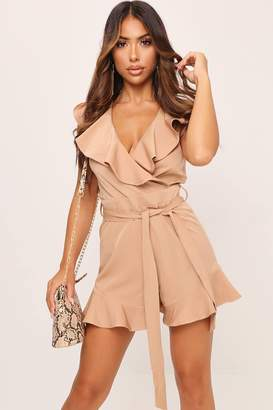 I SAW IT FIRST Stone Frill Tie Waist Plunge Playsuit