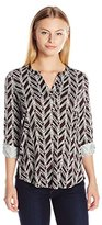 NYDJ Women's Petite Knit Henley Blouse with Convertible Sleeve