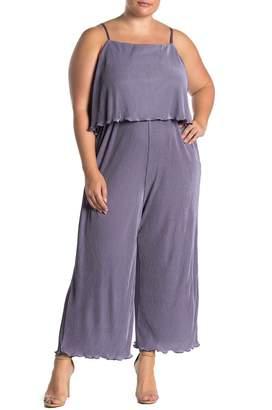 MelloDay Pleated Popover Sleeveless Jumpsuit (Plus Size)