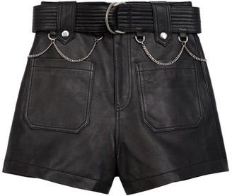The Kooples Chain Belt Leather Shorts