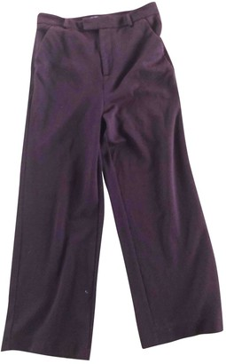 Ganni Burgundy Cotton Trousers
