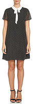 CeCe Sleeveless Clip Dot Tie-Neck Collared Dress