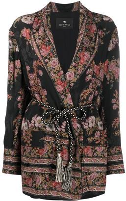 Etro Floral Print Tie Waist Blazer