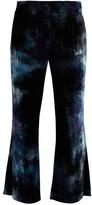 Raquel Allegra Tie-dye flared velvet trousers