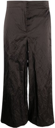 Odeeh Crinkled Effect Cropped Trousers