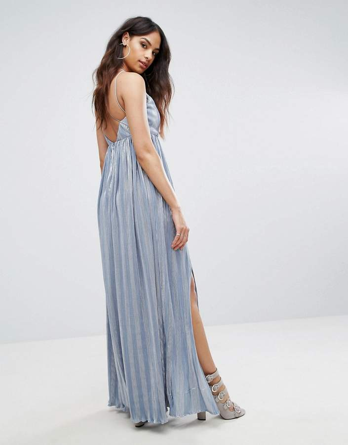 Rare London Strappy Maxi Dress With Double Split
