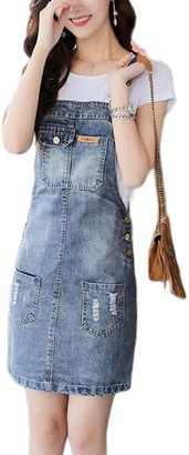 Suvotimo Women Overalls Dress Suspender Straps Denim Jeans Bodycon Dresses Blue M