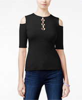 GUESS Maja Cold-Shoulder Lace-Up Top, A Macy's Exclusive