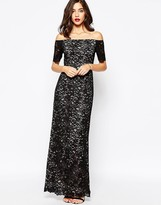 Warehouse Off the Shoulder Lace Maxi Dress