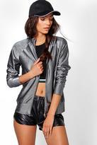 Boohoo Tall Coralie Metallic Rib Zip Through Jacket