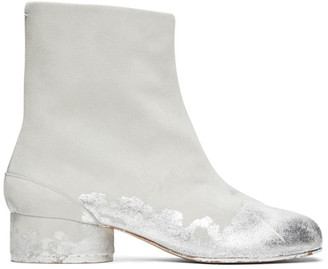 Maison Margiela Off-White and Silver Suede Painted Low Heel Tabi Boots