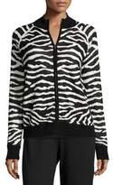 Joan Vass Zebra-Print Zip-Front Jacket, Petite