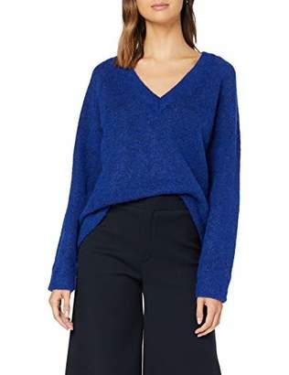 Melange Home Selected Femme NOS Women's Slflanna Ls Knit V-Neck Noos Jumper, (Clematis Blue Pattern , Large