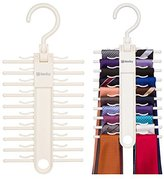 2-PACK Tenby Living Ivory-White Matte Tie Rack, Organizer, Hanger, Holder - Affordable Tie Rack with Non-Slip Clips, Holds Securely up to 20 Ties