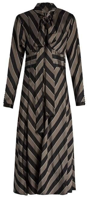 Marc Jacobs Tie Neck Striped Satin Midi Dress - Womens - Black Grey