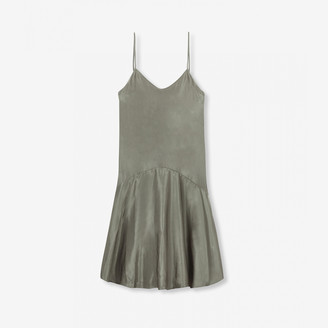 Alix The Label - Pale Army Viscose Satin Slip Dress - L - Grey