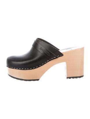 Swedish Hasbeens Leather Mules Black