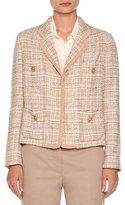 Agnona Tweed Four-Pocket Jacket, Taupe