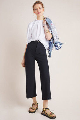 Anthropologie Courtney Cropped Wide-Leg Pants By in Black Size 0